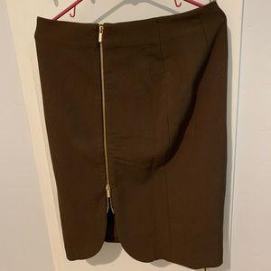 Ann Taylor Gold Zipper Chocolate Pencil Skirt